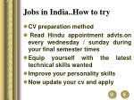 jobs in india how to try