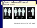 influences on personal financial planning continued