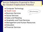 service industries expected to have the greatest employment potential