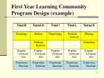 first year learning community program design example