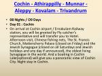cochin athirappilly munnar aleppy kovalam trivandrum