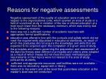 reasons for negative assessments