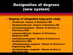 designation of degrees new system