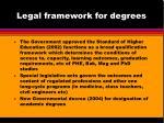 legal framework for degrees