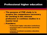 professional higher education