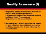 quality assurance i