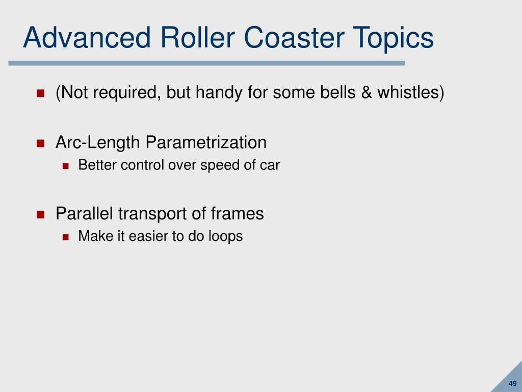Advanced Roller Coaster Topics