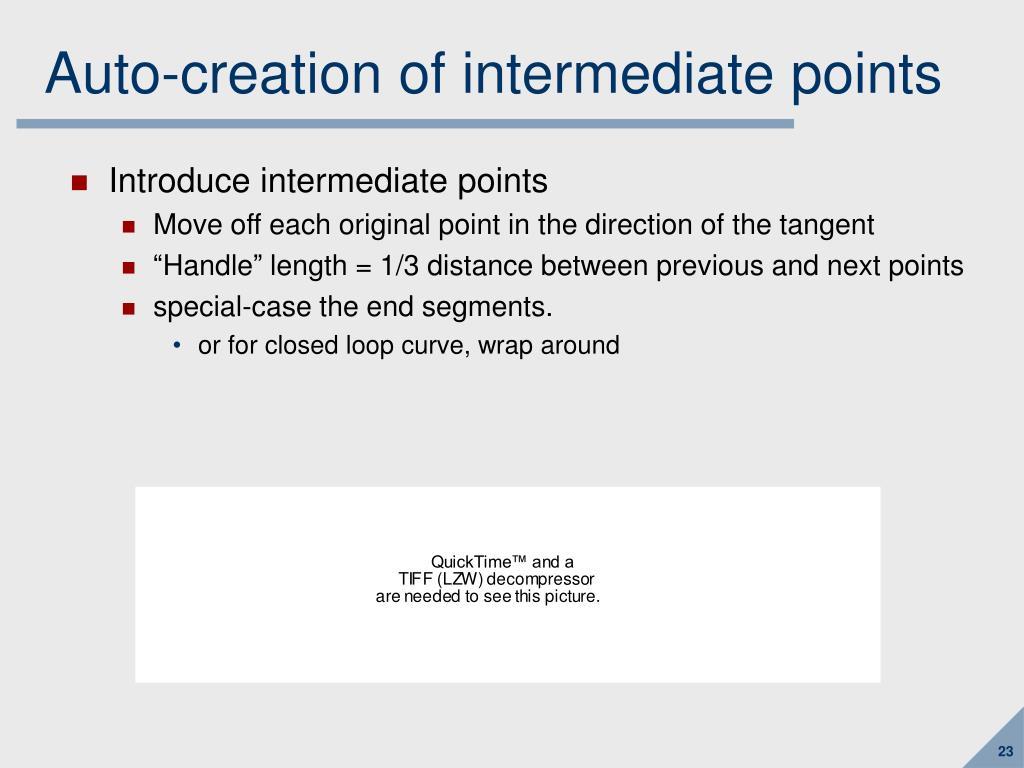 Auto-creation of intermediate points