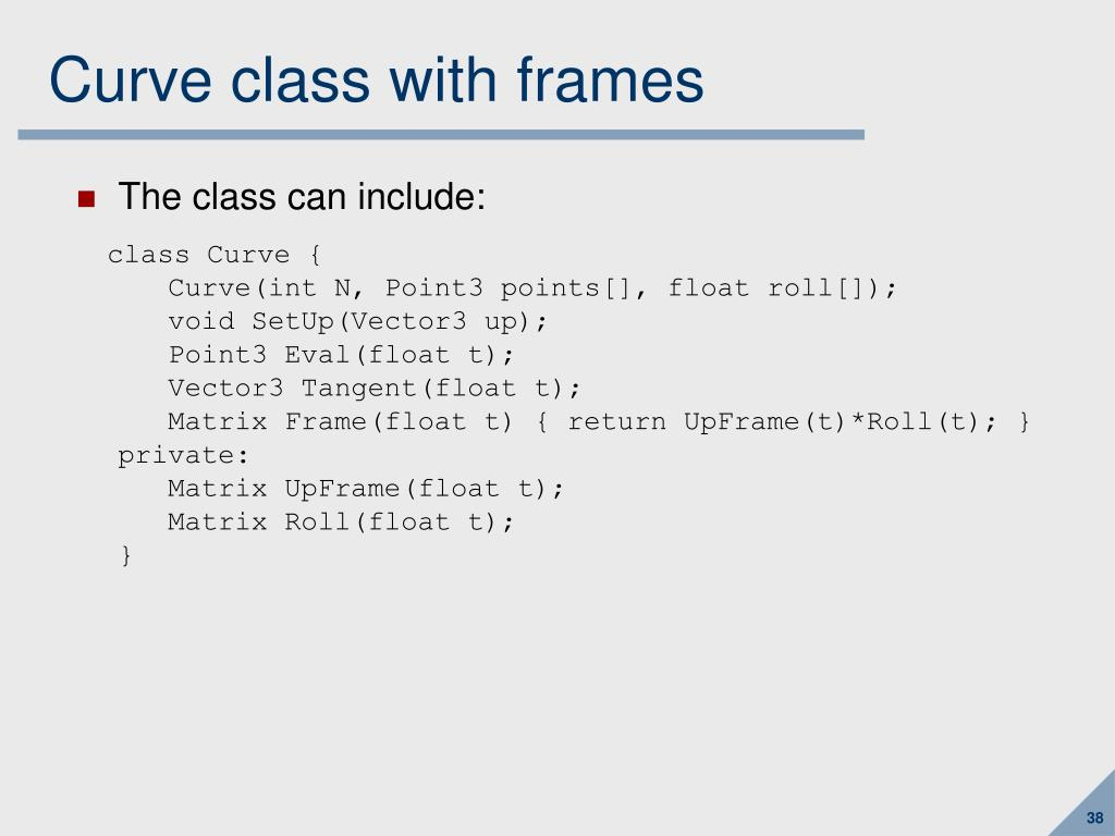 Curve class with frames