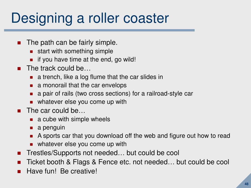 Designing a roller coaster
