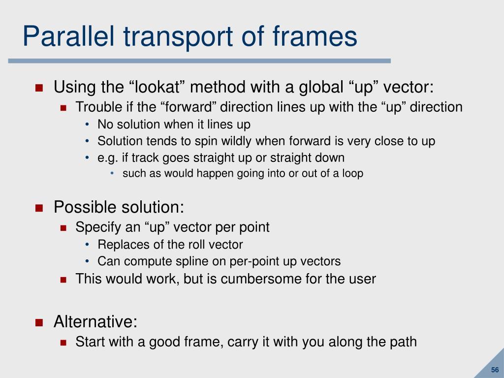 Parallel transport of frames