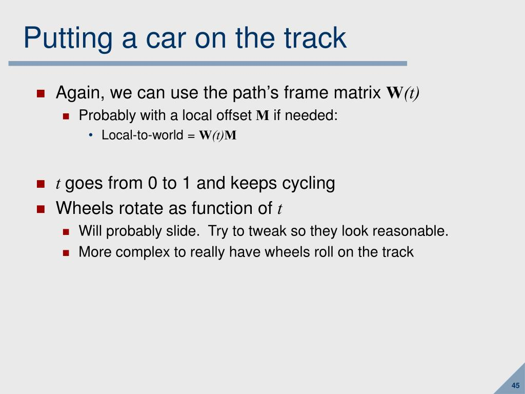 Putting a car on the track