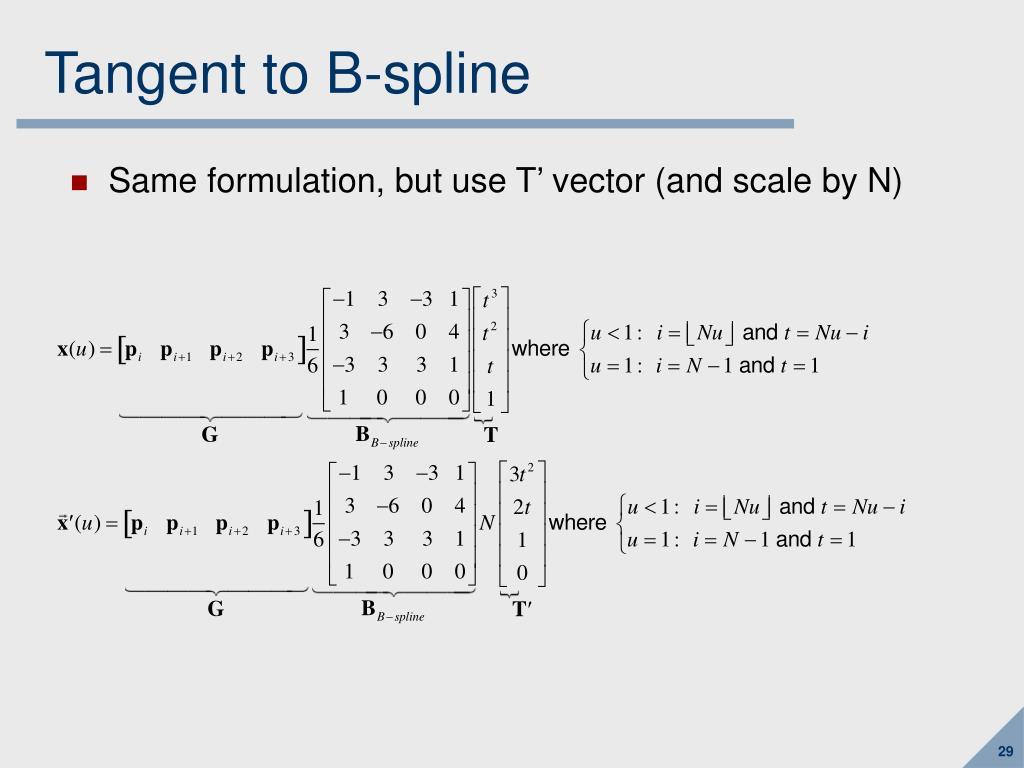 Tangent to B-spline