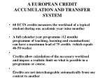 a eur opean credit accumulation and transfer system