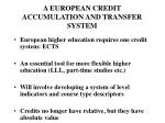 a european credit accumulation and transfer system