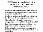 ects as an accumulation system learning outcomes competences