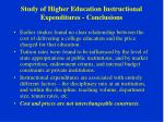 study of higher education instructional expenditures conclusions