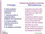 enhancing student learning 9 principles what students say34