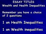 essay titles wealth and health inequalities