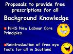 proposals to provide free prescriptions for all