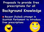 proposals to provide free prescriptions for all48