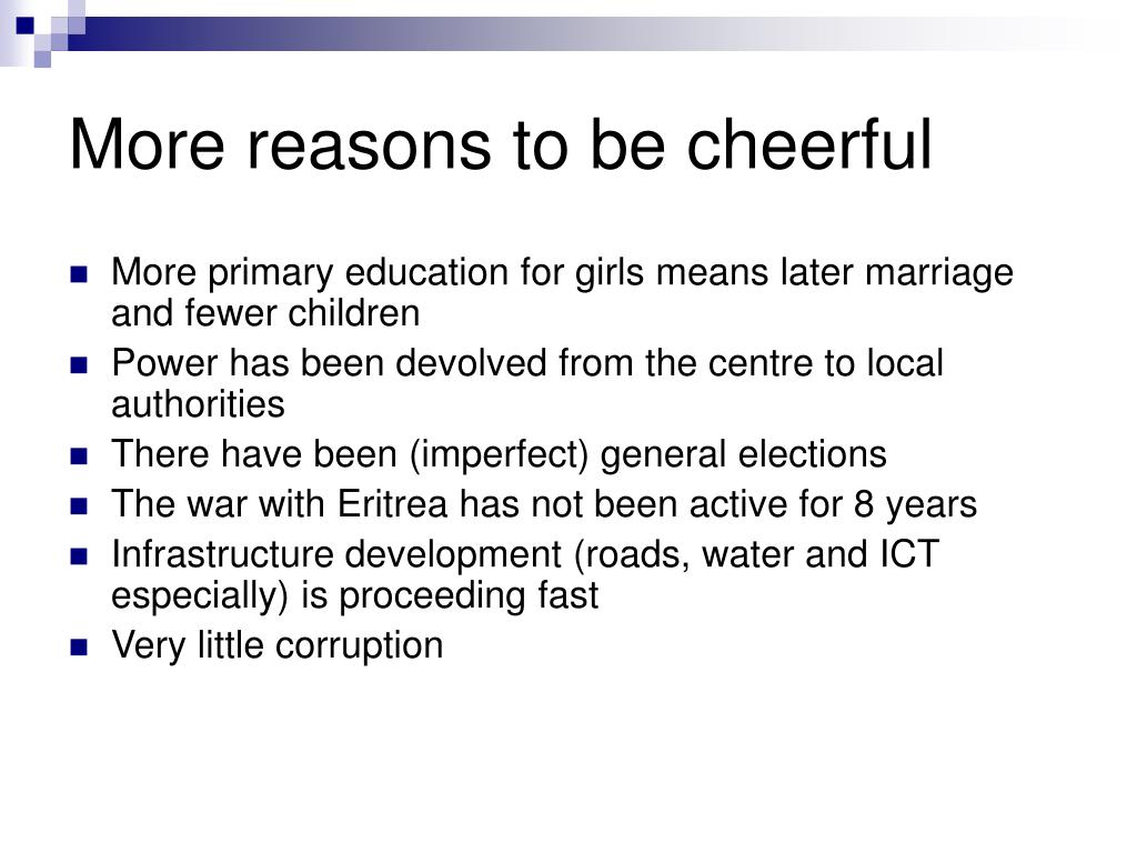More reasons to be cheerful