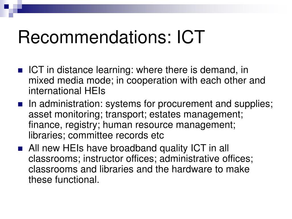 Recommendations: ICT