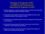 prototype to production p2p conditions and processes for educating the engineer of 2020