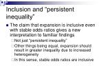 inclusion and persistent inequality
