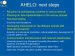 ahelo next steps