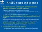 ahelo scope and purpose