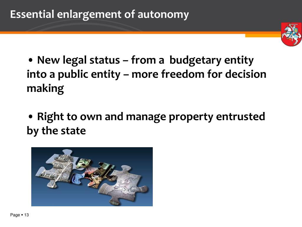 Essential enlargement of autonomy