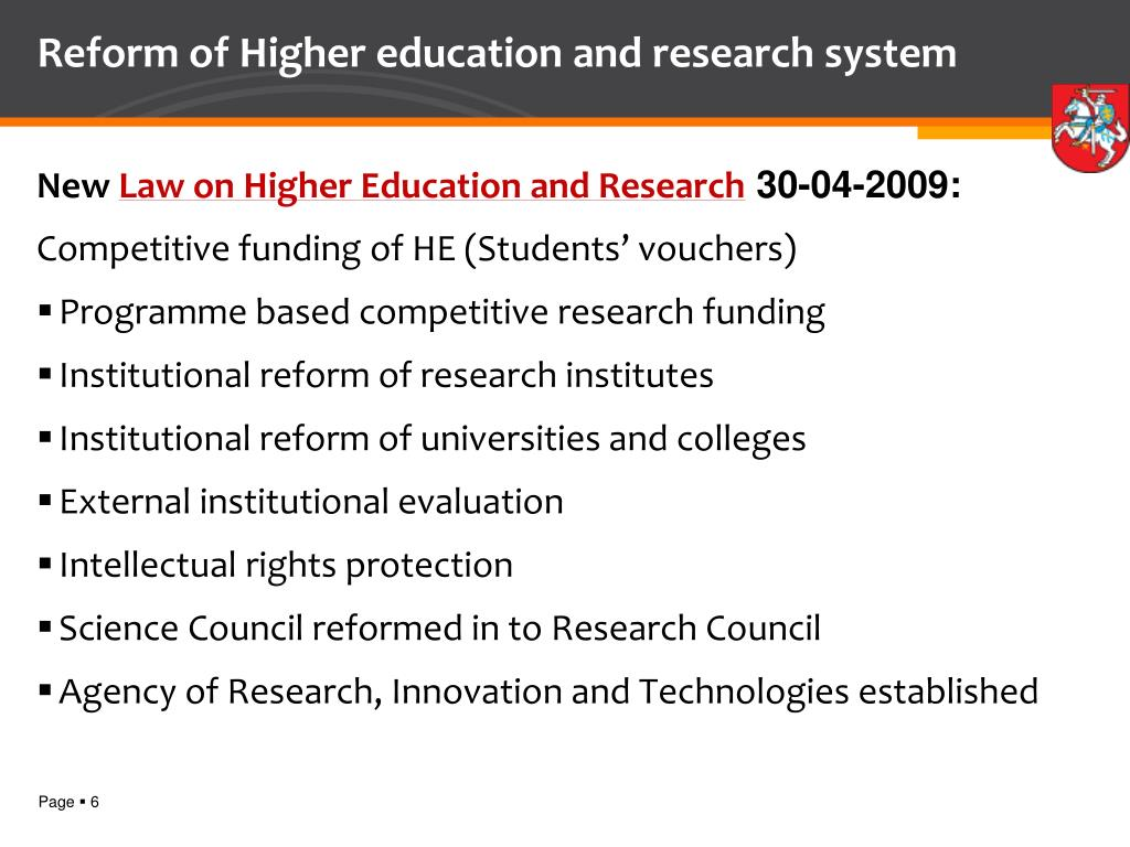 Reform of Higher education and research system
