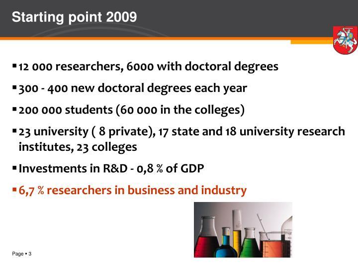 Starting point 2009
