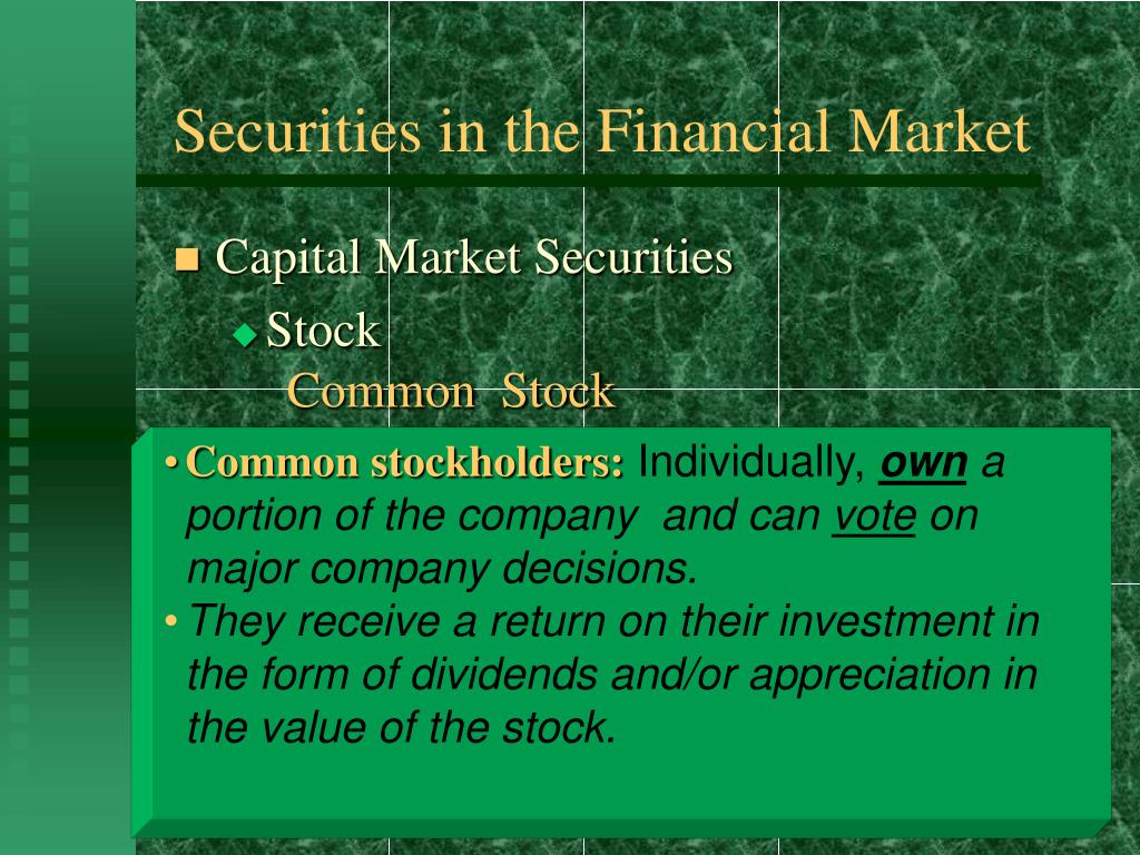 Securities in the Financial Market