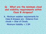 q what are the minimum cloud and visibility requirements within class b airspace