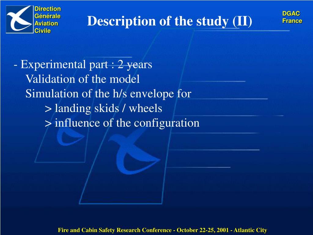 Description of the study (II)