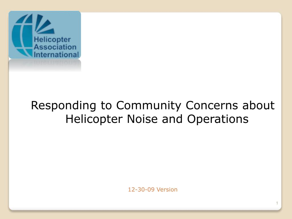 Responding to Community Concerns about Helicopter Noise and Operations