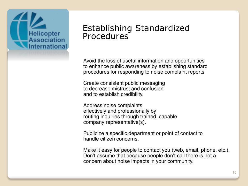 Establishing Standardized
