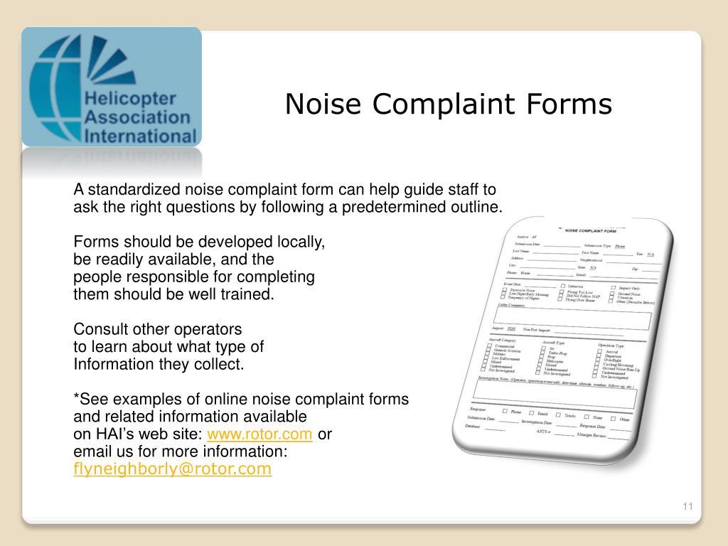 Noise Complaint Forms