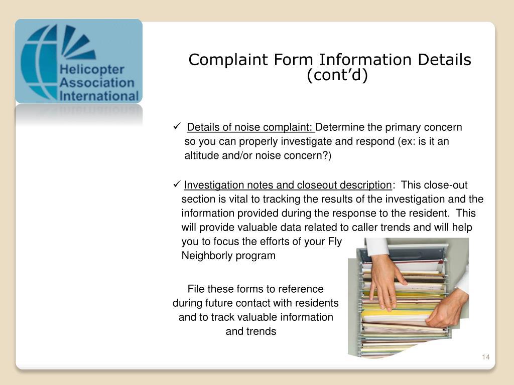Complaint Form Information Details  (cont'd)