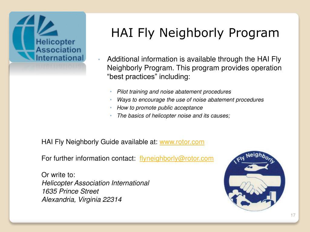 HAI Fly Neighborly Program