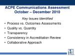acpe communications assessment october december 2010