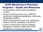acpe monitoring of pharmacy programs quality and resources