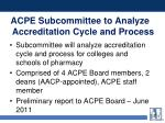 acpe subcommittee to analyze accreditation cycle and process