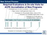 required evaluations on site visits for acpe accreditation of new programs