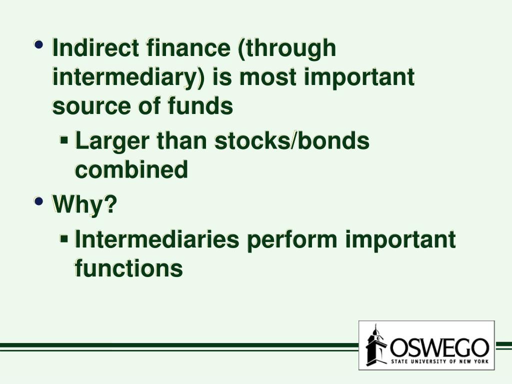 Indirect finance (through intermediary) is most important source of funds