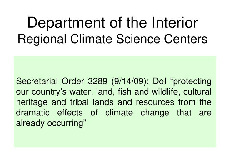 department of the interior regional climate science centers n.