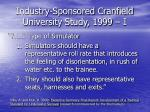 industry sponsored cranfield university study 1999 i