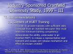 industry sponsored cranfield university study 1999 iii